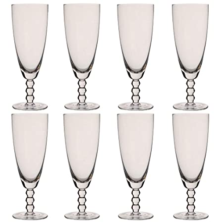 Juego de 8 copas de champán con cuentas de cristal de Bella Perle, 300 ml: Amazon.es: Hogar