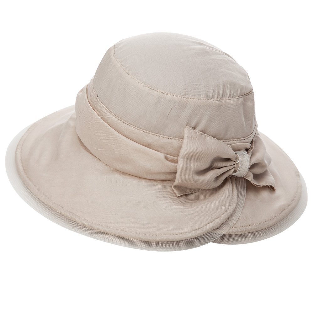 SIGGI Real Silk Womens Summer Bucket Boonie UPF 50+ Wide Brim Cotton Sun Hat Foldable Beach Accessories Beige