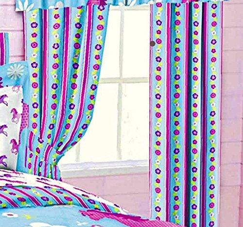 Girls Turquoise Blue & Pink Stripe Floral PONY HORSE WINDOW DRAPERY SET (2-Panels w/2-Tiebacks) 84