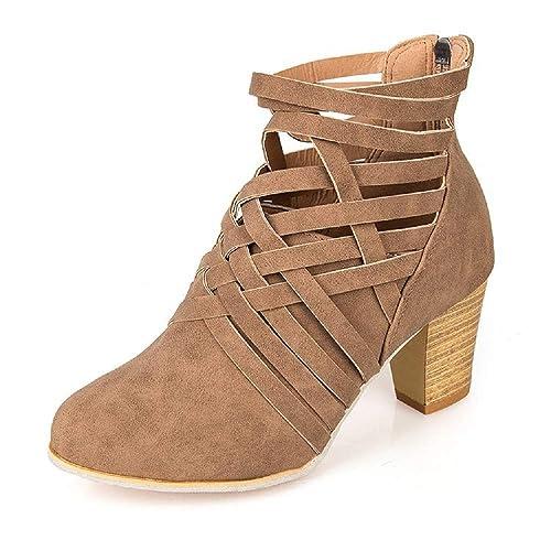 seleccione para mejor buscar original precios de remate Botines Mujer Tacon Alto, Cuero Botas 7 Cm Otoño Zapatos De Botas Comodos  Fiesta Marrón Rosado 35-43