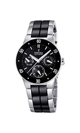 Festina Unisex F16530/2 Silver Stainless-Steel Quartz Watch with Black Dial