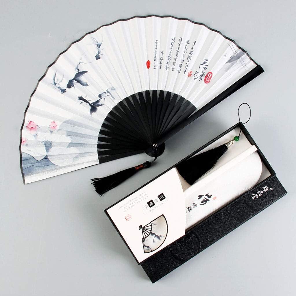 QXJTX Ventilador portátil Plegable Plegable del Ventilador Masculino Borla Estilo Tradicional Chino Hanfu Ventilador Plegable de Verano de Mujeres (Size : D)