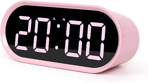 mooas Pop Mirror LED Alarm Desk Clock, LED Clock, Alarm Snooze, Temperature Clock Pink