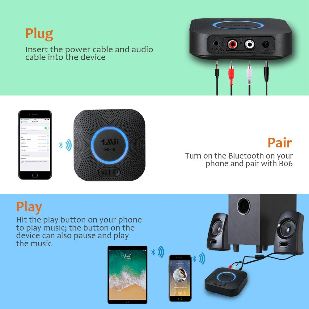 1Mii B06 Plus Bluetooth Receiver, HIFI Wireless Audio Adapter, Bluetooth 4.2 Receiver with 3D Surround aptX Low Latency for Home Music Streaming Stereo System (Upgraded With Power Adapter) by 1mii (Image #5)