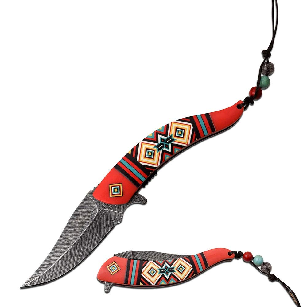Native American Indian Collection Assisted Knife Red