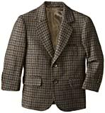 Isaac Mizrahi Black Label Little Boys' Little Pure Wool Multi-Check Blazer, Olive, 2