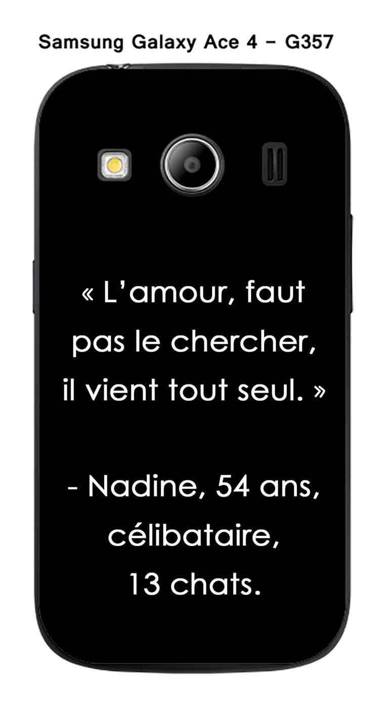 db21545bc25 Onozo Carcasa Samsung Galaxy Ace 4 - G357 Design citaciónEl amor, Faut pas.  Texto color blanco fondo negro: Amazon.es: Electrónica