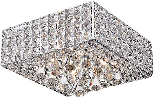 Warehouse of Tiffany RL8178CH Sullin Chrome Crystal Square Ceiling Lamp
