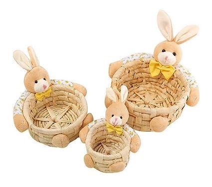 Koala Superstore Conjunto de 3 muñecas de Conejo Hierba Tejido Llaves cosméticos Calcetines cestas de Almacenamiento
