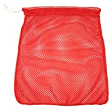 SGT KNOTS Mesh Bag (Medium) 550 Paracord Drawstring Bag - Ventilated Washable Reusable Stuff Sack for Laundry, Gym Clothes, Swimming, Camping, Diving, Travel (24 inch x 30 inch - Orange)