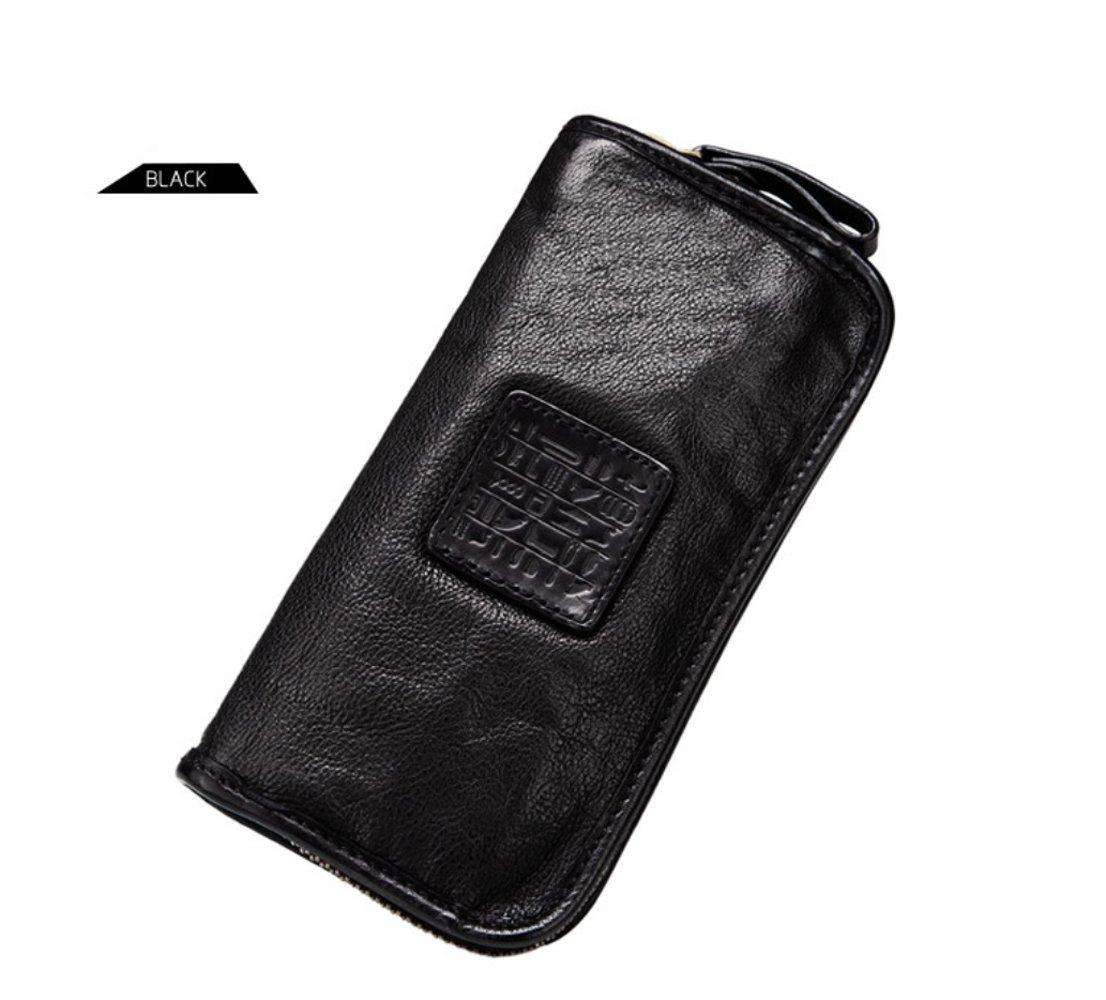 Yaoko Men's Luxury Genuine Soft Sheepskin Leather Long Purse Business Mens Wallet Money Clip (Black)