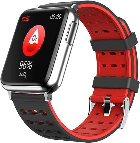 Amazon.com: WINAWORLD V5/BlackRed Health Smart Watch ECG+PPG ...