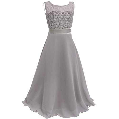 Freebily Girls Kids Sleeveless Lace Chiffon Wedding Bridesmaid Birthday Party Formal Prom Flower Dress