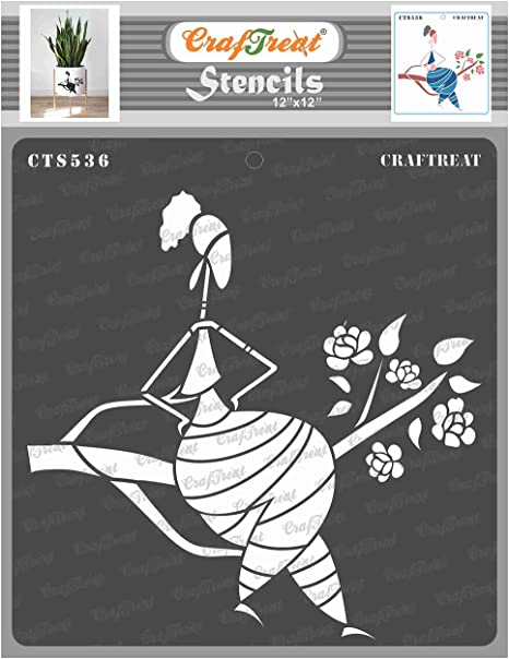 CrafTreat Stencil Enjoying Music and Holding Clock Reusable Painting Template for Home Decor DIY Clock Design Canvas Painting DIY Crafts Scrapbooking 6 x 6 Inches Wall Hanging