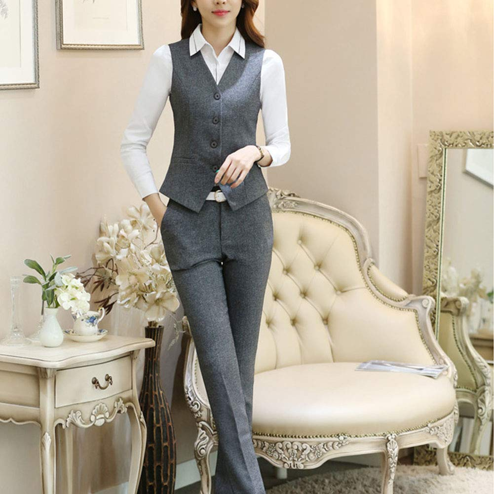 Women's Three Pieces Office Lady Stripe Blazer Business Suit Set Women Suits for Work Skirt/Pant,Vest and Jacket by LISUEYNE (Image #6)
