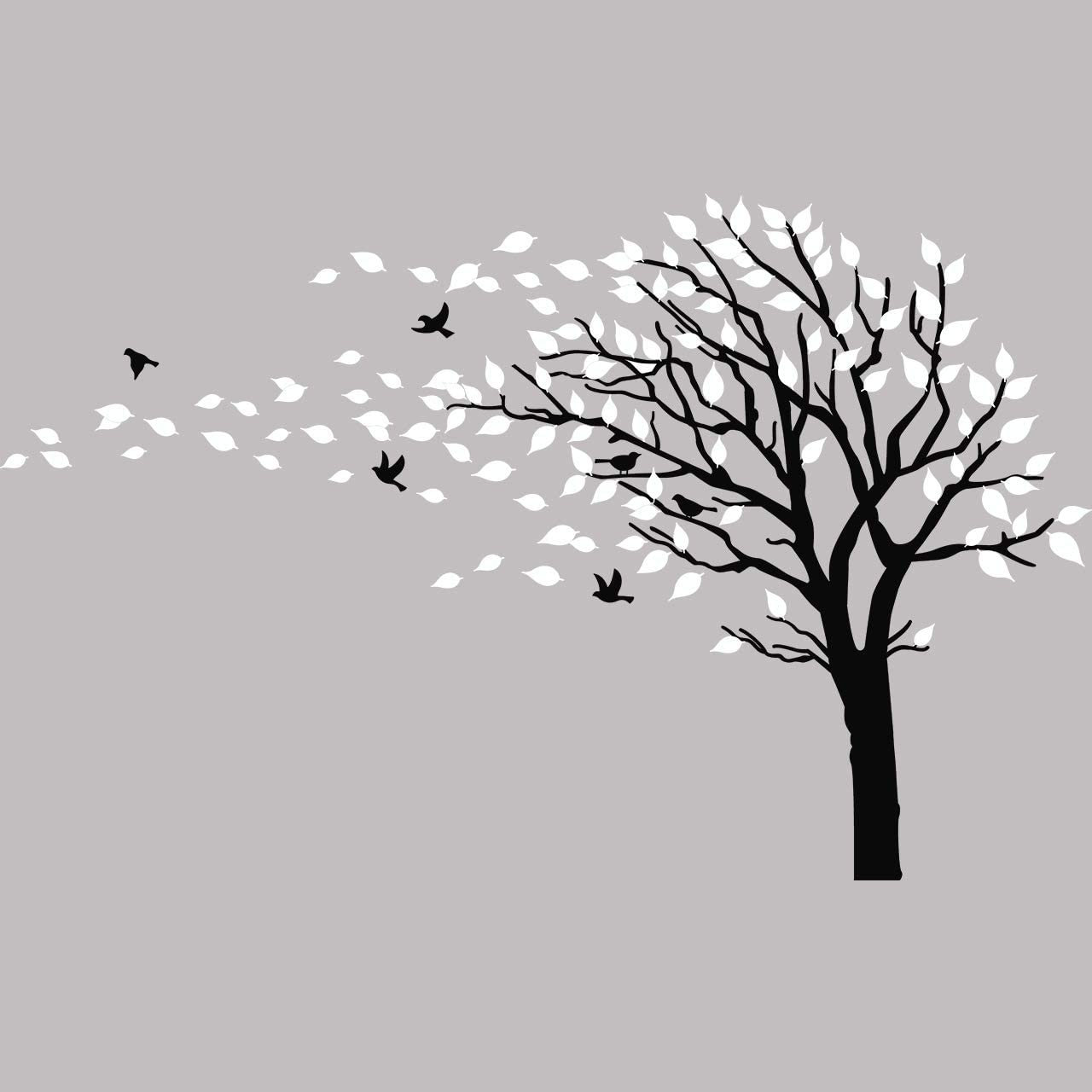 Large Tree Blowing in The Wind Tree Wall Decals Wall Sticker Vinyl Art Kids Rooms Teen Girls Boys Wallpaper Murals Sticker Wall Stickers Nursery Decor Nursery Decals (Black and White,Left)