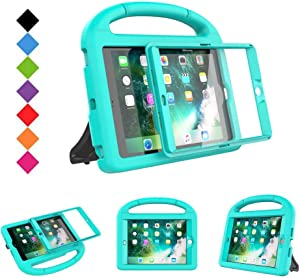 BMOUO Case for iPad Mini 1 2 3 - Built-in Screen Protector, Shockproof Lightweight Hard Cover Handle Stand Kids Case for iPad Mini 1st 2nd 3rd Generation, Turquoise