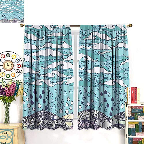 WinfreyDecor Autumn Decor Curtains by Funky Overcast Day Cumulus Clouds Like Sea Wave Floating Wet on Ethnic UmbrellaBlackout curtainBlue Purple. W63 x L72