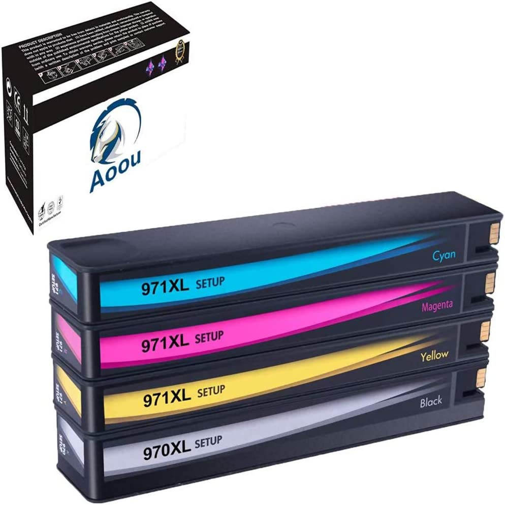 Aoou Remanufactured Ink Cartridge Replacement for HP 970XL 971XL 970 XL 971 XL to use with Officejet Pro X476dw X576dw X476dn X451dw X551dw X451dn Printer (Black Cyan Magenta Yellow, 4-Pack)