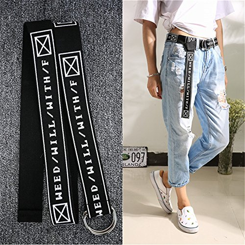 Generic Korean_letters_Embroidery_Stamp_jeans_canvas_ Belt _men women_generic_braided_ Belt _double Ring long_ Belt _tide