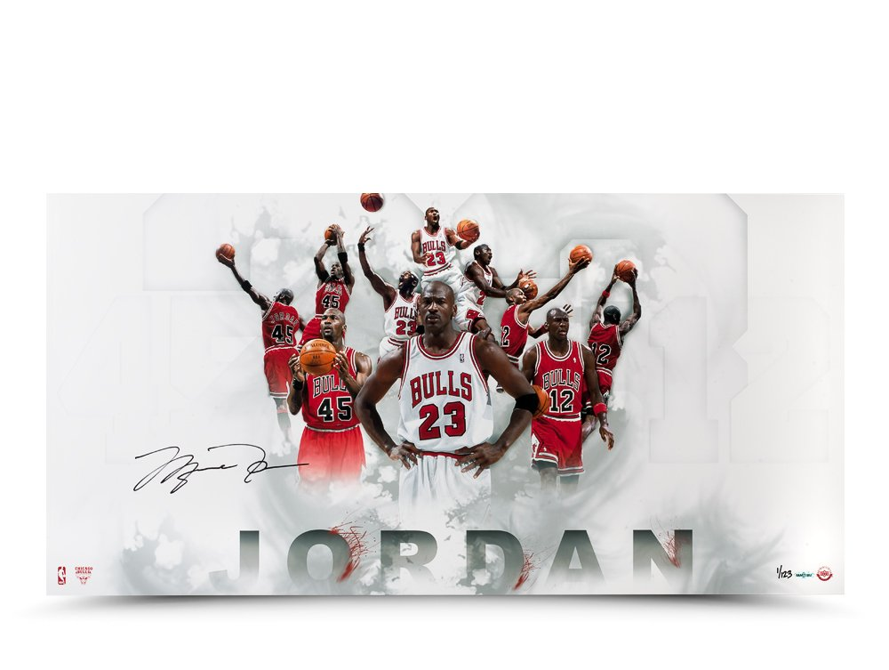 super popular 0881c d04b2 Michael Jordan Autographed #12 #23 #45 Jersey Number Photo ...