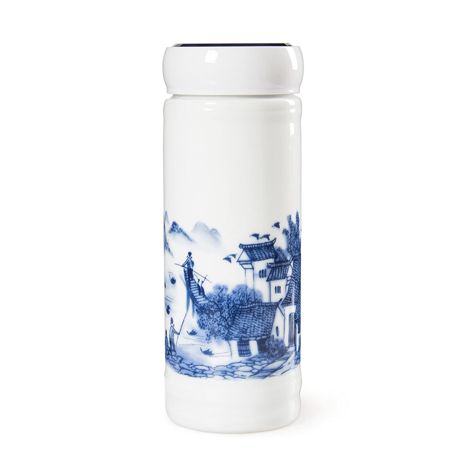 CHINZEE Double Walled Insulated Travel Mug Ceramic Leak Proof with Screw Lid - Blue&White Porcelain Cheerz Culture