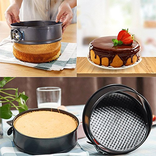 WARM MAISON Nonstick Springform Pan Set Leakproof 10.5inch Square 10 inch Round 9 inch Heart Baking Pie Cheese Cake Molds Pan Set with Quick Release Latch and Removable Bottom by WARM MAISON (Image #3)
