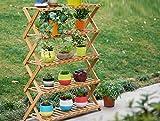 Wooden flower rack / indoor multi-layer folding flower rack / shoe rack / balcony living room flower pot shelf ( Size : 703096cm )