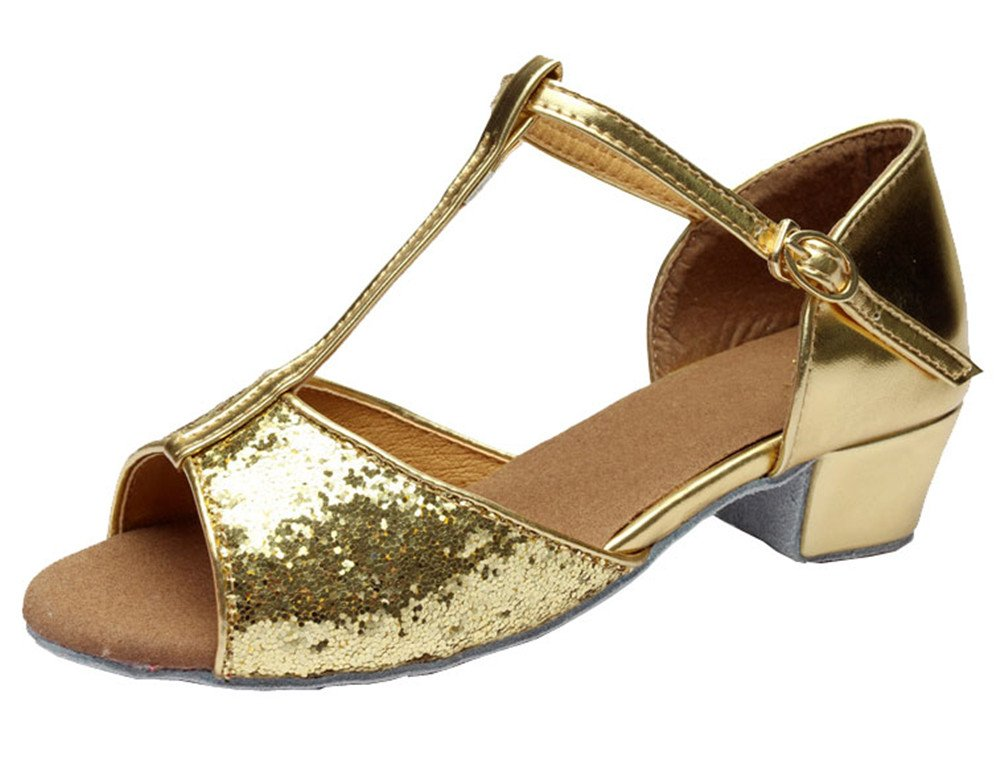 Girl's Indoor Suede Sole Latin Dance Sandals Ballroom Glittering T-strap Tango Shoes(2, Gold)