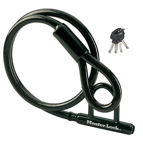 MASTER LOCK Candado Bicicleta con Mini U [1,5 m Cable] [Llave ...