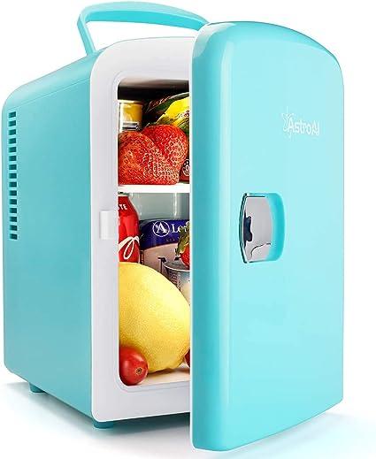 AstroAI Mini Refrigerador, Mini Nevera Portátil para el Skincare 4L 6 Latas de Refrescos, Mini Neveras 220V/12V para Enfriar y Calentar (Semi-azul y ...
