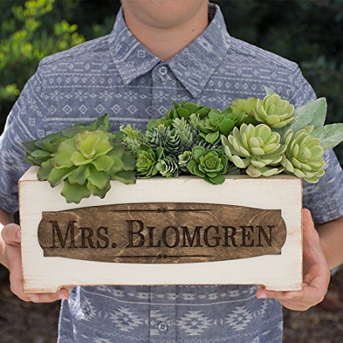Personalized Vintage Style Planter Box - Teacher Name (Style Planter Box)