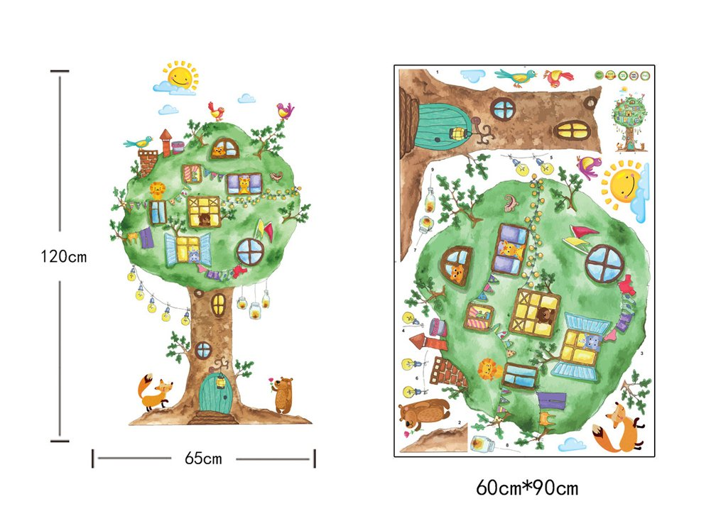 Wallpark Dibujos animados Grande Animales /Árbol Casa Lindo Oso Le/ón Desmontable Pegatinas de Pared Etiqueta de la Pared Beb/é Ni/ños Hogar Infantiles Dormitorio Vivero DIY Decorativas Arte Murales