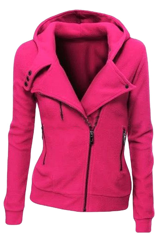well-wreapped Kisscy Women's Winter Full Zip Up Fleeces Hooded Sweatshirt Hoodie Jacket