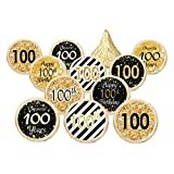 100th Birthday Party Decorations - Gold & Black - Stickers for Hershey Kisses (Set of 324)
