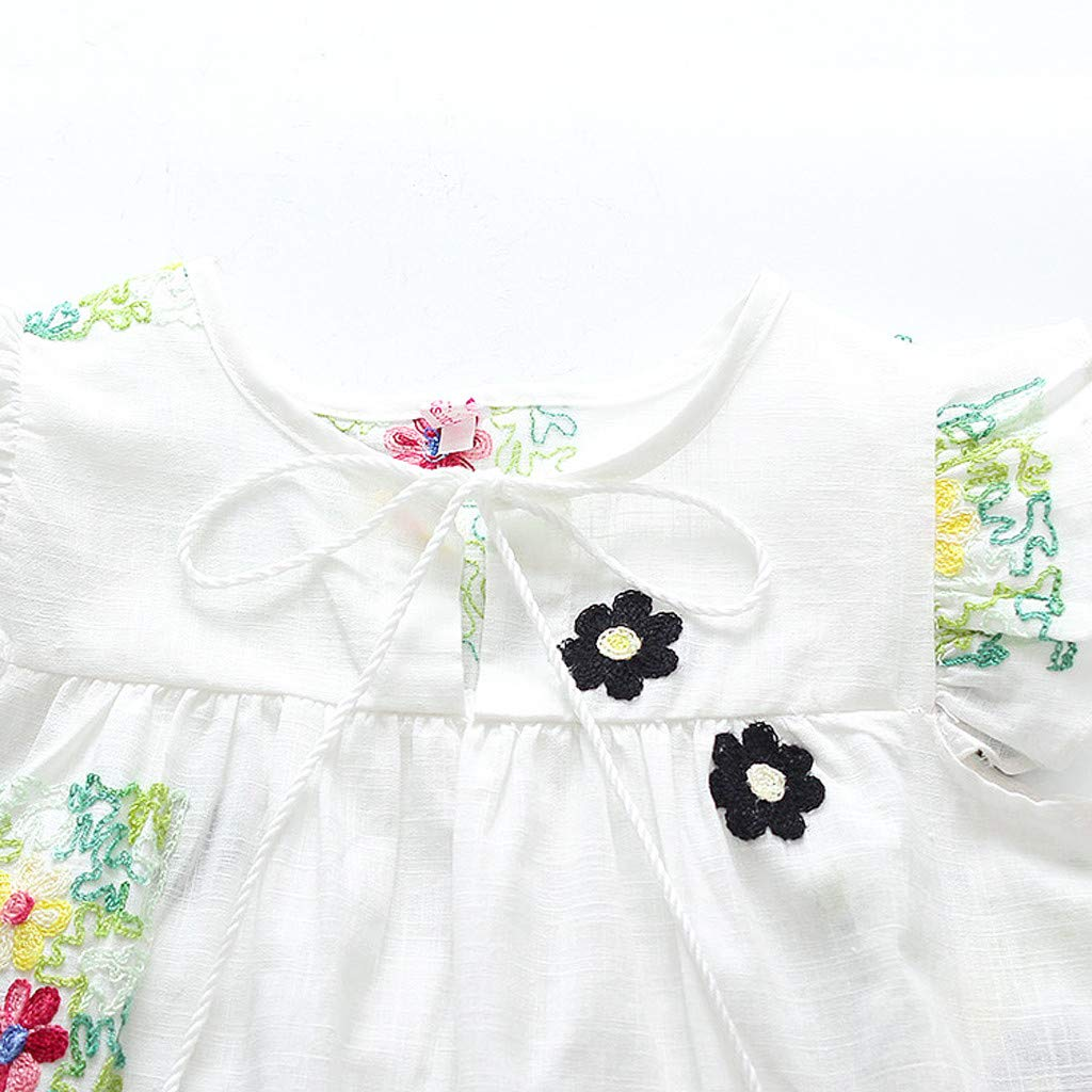 SSZZoo Toddler Kids Baby Girls Dress Flying Sleeve Floral Ruffled Embroideried Tassel Casual Skirt