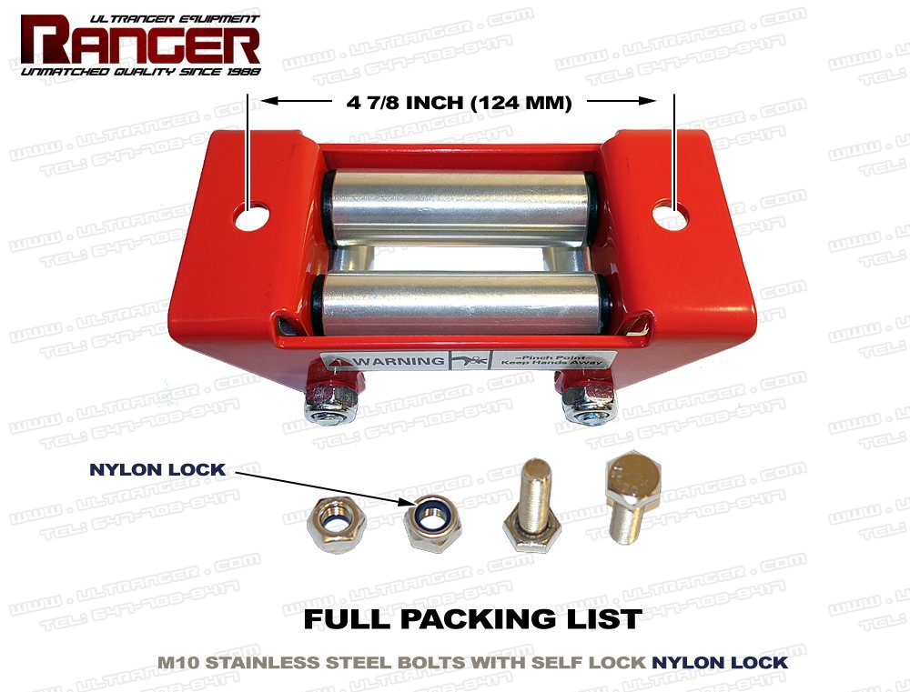 Red Ranger ATV Winch Roller Fairlead 4 7//8 Mount for 2000-3500 LBs ATV Winch by Ultranger Glossy 124MM