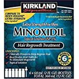 6 Months Kirkland Minoxidil 5 percentage Extra Strength Hair Loss Regrowth Treatment Men, 2 Fl Oz, 6 Pack