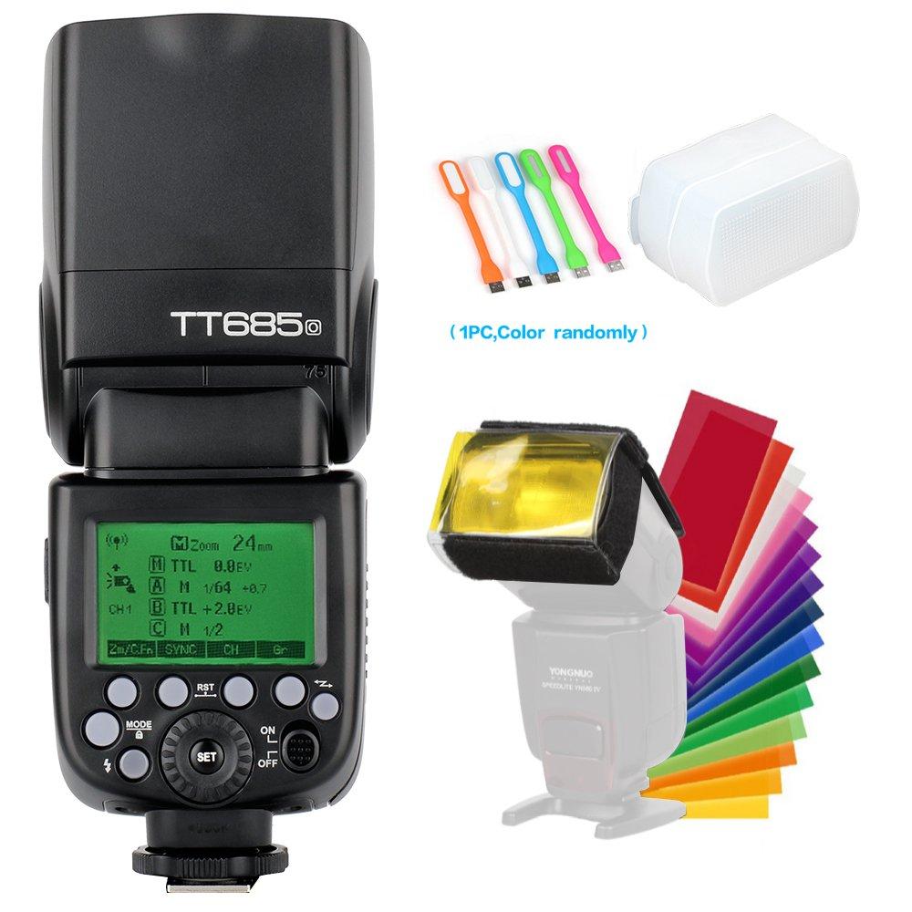 Godox TT685O TTL Camera Flash Speedlite Light High Speed Sync 1/8000s GN60 2.4G Compatible for Olympus Panasonic Camera & Diffuser & Filter & USB LED by Godox