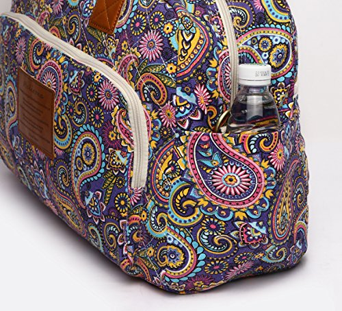 Malirona Canvas Overnight Bag Women Weekender Bag Carry On Travel Duffel Bag Floral (Purple Flower) by Malirona (Image #4)