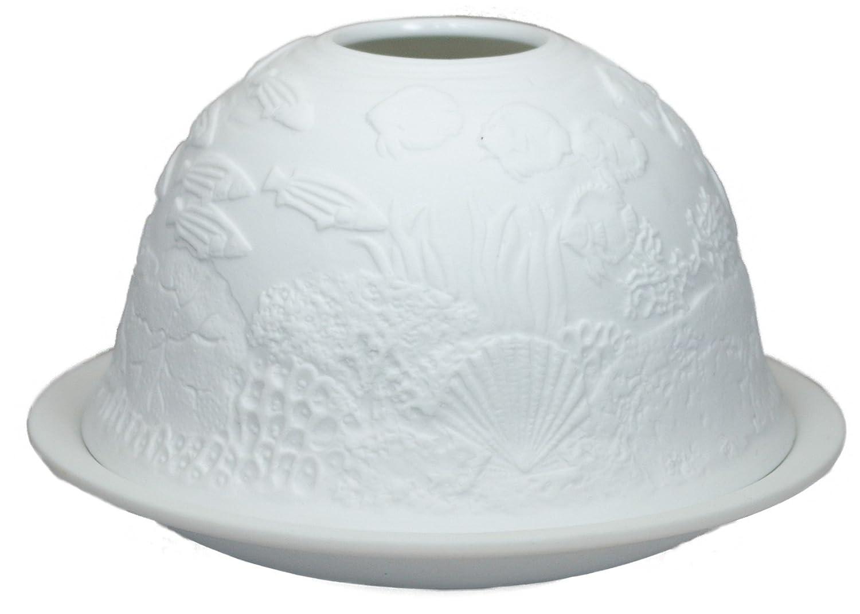 Ocean Floor Him DL0071 Fond de la mer 12x12x8 cm - photophore en Porcelaine Blanc Cass/é