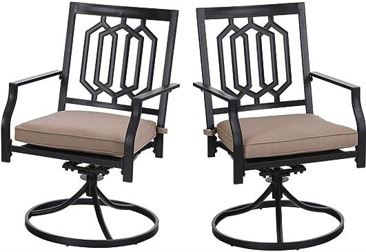 PHI VILLA Outdoor Metal Swivel Chairs Set of 2 Patio Dining Rocker Chair