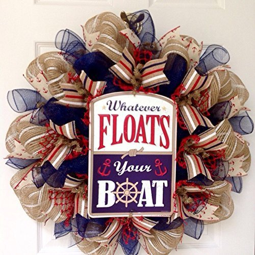 Whatever Floats Your Boat Nautical Handmade Deco Mesh Wreath