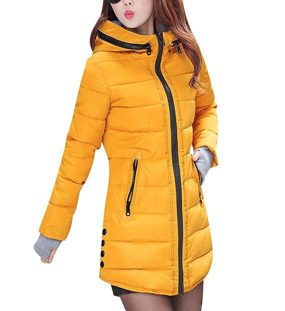 a40859cc94a0 Abrigo de Invierno Cremallera Acolchado Chaqueta Largo con Capucha de Manga  Larga para Mujer: Amazon.es: Ropa y accesorios