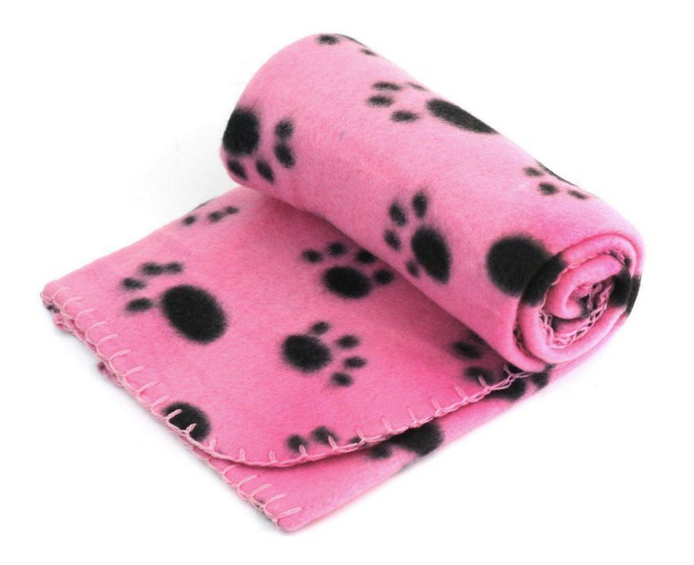 Pet Dog Cat Puppy Kitten Soft Blanket Doggy Warm Bed Mat Paw Print Cushion USA