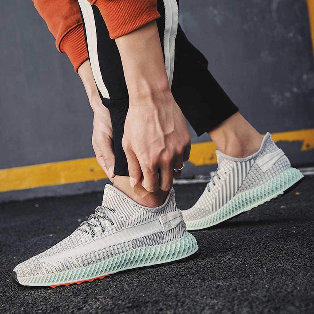 Lace-Up Comfy Running Shoes Breathable Walking Sneakers Shock Absorbing Basketball Shoe Grey Lightweight Mens Trainers