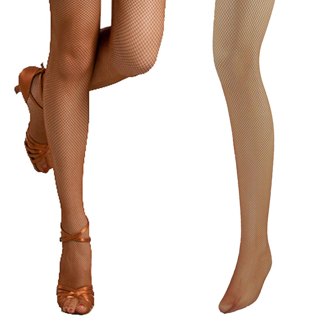 Bartolini Women Professional Dance Fine Fishnet Tight Stockings (Small, Flesh)
