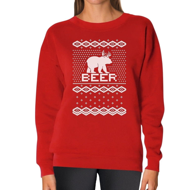 TeeStars - Bear + Deer = BEER Ugly Christmas Sweater Funny Women Sweatshirt