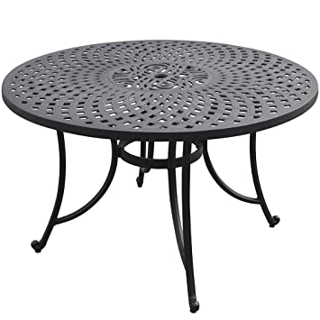 Crosley Furniture Sedona 48 Inch Solid Cast Aluminum Outdoor Dining Table    Black