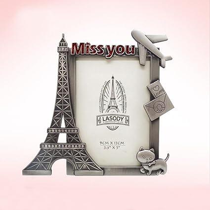 Amazon.com - DELIWAY Metal Eiffel Tower Photo Frame, Tabletop DIY ...